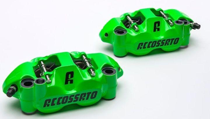 Accossato forged monoblock brake caliper set, 108 mm, aluminium-made pistons - racing Green coating - brake pads ST included