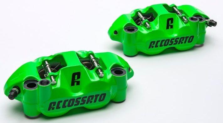 Accossato forged monoblock Brake caliper set, 108 mm, aluminium-made pistons - racing Green coating - brake pads ZXC included