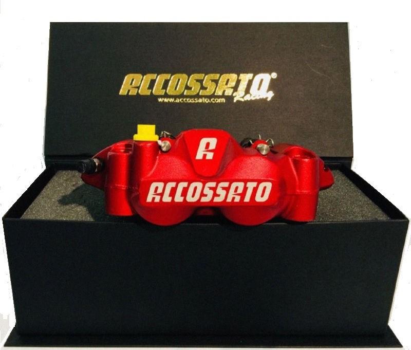 Accossato forged monoblock Brake caliper set, 108 mm, aluminium-made pistons - racing Red coating - brake pads ZXC included