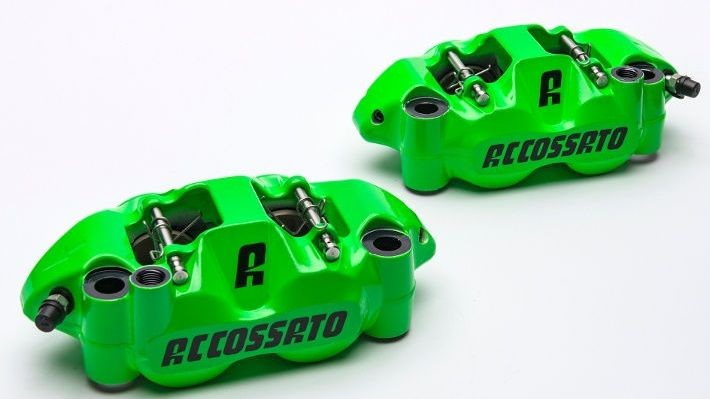 Accossato forged monoblock brake caliper set, 108 mm, aluminium-made pistons - Fluorescent Red coating - brake pads ST included