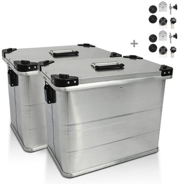 Bagtecs / バッグテック Aluminium Side cases Bagtecs / バッグテック 2 x 45l + Mounting kit for 16mm luggage carriers | 980279-0