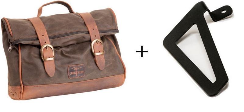 Custom Acces Vintage Right Leather Saddlebag + Right Universal Support, Orange | ALV003T