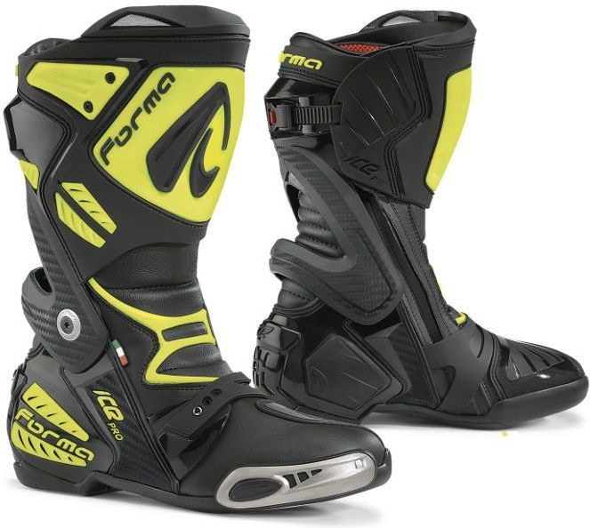 Forma Ice Pro Racing Boots Standard Fit, Black/Yellow Fluo |FORV220-9978