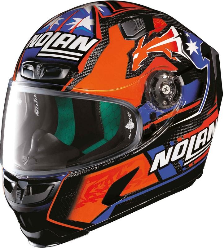 X-Lite / エックスライト X-803 Ultra Carbon Replica Stoner ヘルメット フルフェイス ブルー/オレンジ/ホワイト
