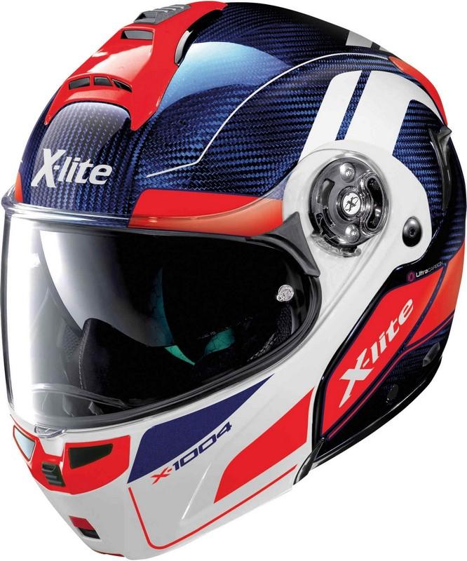 X-Lite / エックスライト X-1004 Ultra Carbon Charismatic ヘルメット フリップアップ ブルー/ホワイト/レッド