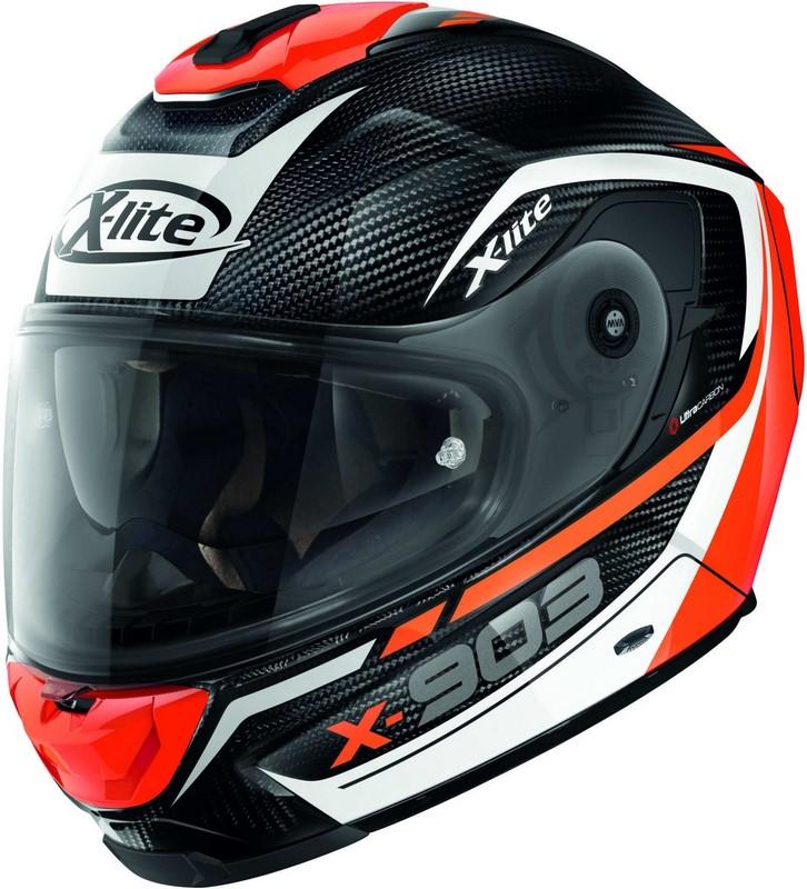 X-Lite / エックスライト X-903 Ultra Carbon Cavalcade N-Com ヘルメット フルフェイス ホワイト-オレンジ-ブラック