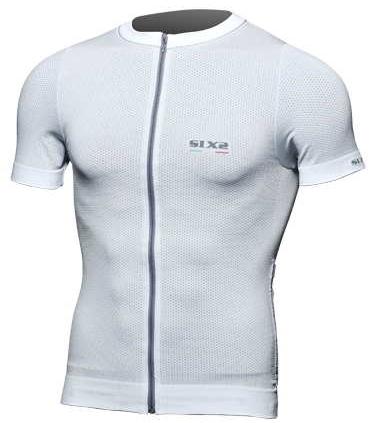 SIXS - シックス Biking Short-Sleeved Shirt with Full-Size Zipper - カーボンホワイト